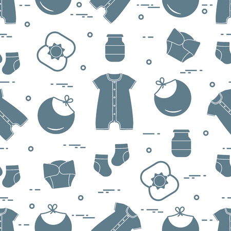 Illustration pour Seamless pattern with goods for babies. Newborn baby background. Bib, baby food can, rattle, socks, diapers, bodysuit. - image libre de droit