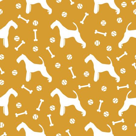 Illustration pour Seamless pattern with dog, bone, tennis ball. Friendship. Animal background. - image libre de droit