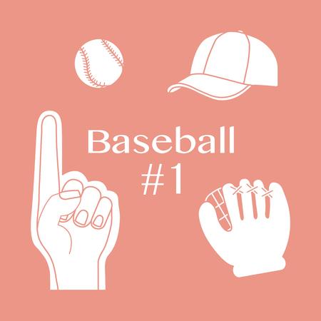 Vector illustration with baseball foam finger, ball, cap, glove. Sports background. Design for banner, poster or print.