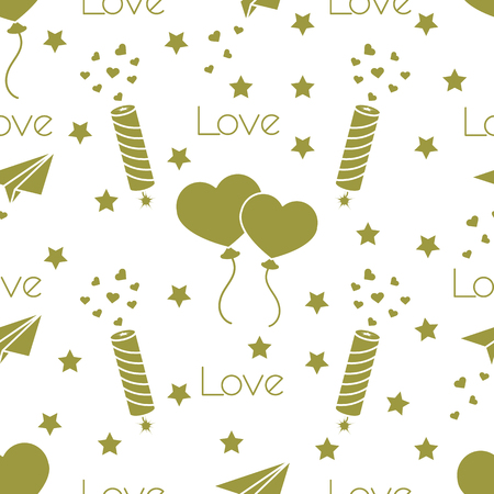 Seamless pattern with paper airplane, petard, balloons, hearts. Birthday, Valentine\'s day, Mother\'s Day, Father\'s day vector romantic background. Design for greeting card, poster or print.