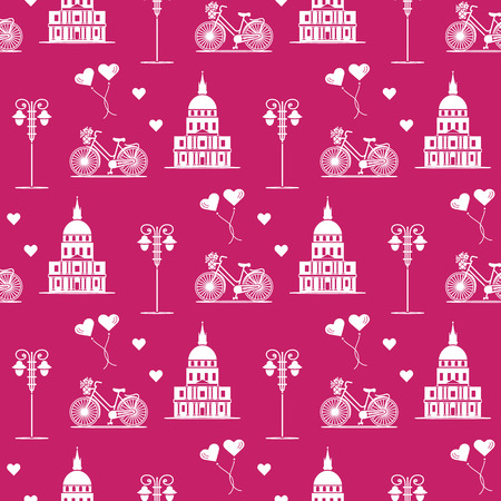 Illustration for Seamless pattern with famous building, bicycle, lantern, balloons, hearts. Travel and leisure. Valentine's Day. Romantic background. - Royalty Free Image