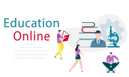 Vector illustration with learning people. Online education, online distance studying, teaching, learning concept. Online tutorial. E-learning school background Design for web page, presentation, print