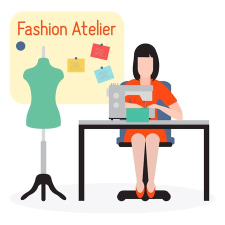 Vector Illustration On White Background Woman Seamstress Works On Sewing Machine Tailor Atelier Tailoring Sewing Workshop Equipment Fashion Designer Sew Dressmaking Tools Design For Print Website Royalty Free Vector Graphics