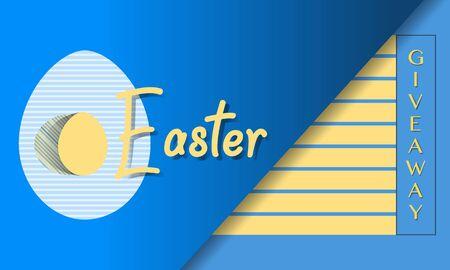 Illustration pour Vector illustration Easter egg Giveaway Promotion Gift Sale template Festive background Shopping Advertising concept Surprise Hunt for Easter eggs. Fun game. Design for banner, poster or print - image libre de droit