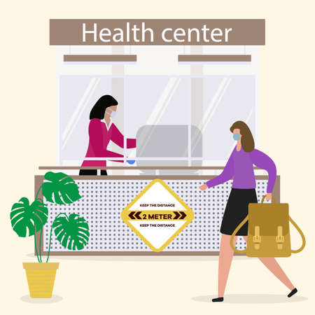 Illustration pour Vector illustration Health center. Reception room at clinic. Receptionist in protective medical mask and gloves behind workplace in clinic and patient. New normal. Healthcare and medicine concept - image libre de droit