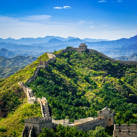 Great Wall of China in summer day Jinshanling section near Beijing