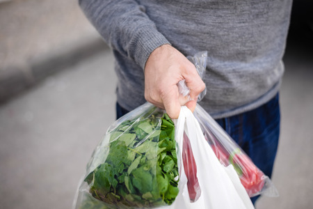 Photo for Male carrying bag in his hand after shopping. Closeup of bag full of fruits and vegetables. - Royalty Free Image