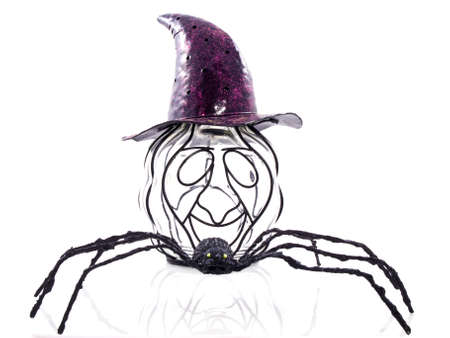 An odd pumpkin wearing a purple hat with a big black spider isolated