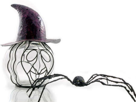 An odd pumpkin wearing a purple hat with a spider isolated