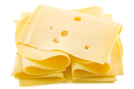 Dutch yellow cheese with holes isolated over white