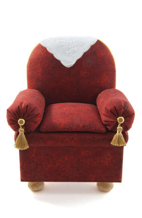 Red brown chair handmade isolated over white