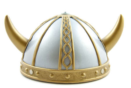 Decorated old viking helmet on a white background