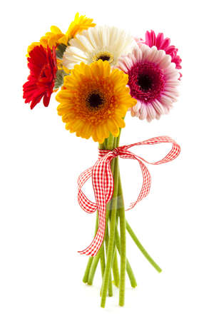 Bouquet with different kind of colored gerbera's isolated over white