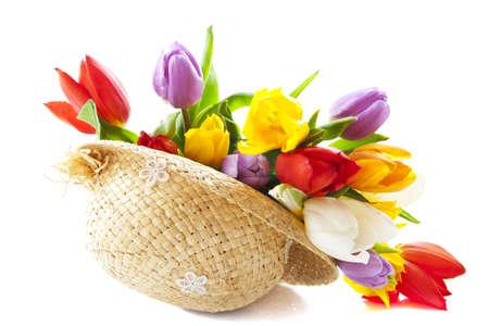 Photo pour Colorful dutch tulips in straw hat over white - image libre de droit