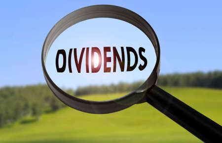 Magnifying glass with the word dividends on blurred nature background. Searching dividends concept