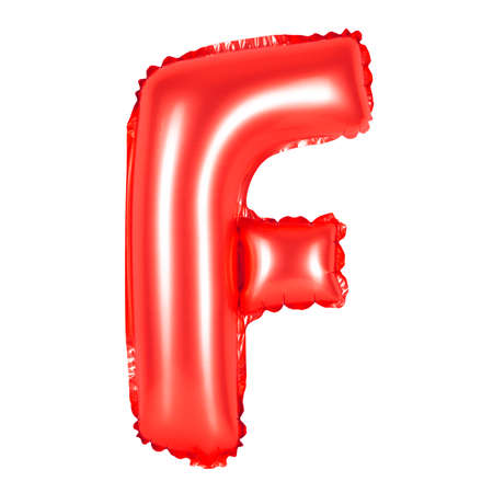 Letter F from English alphabet of balloons on a white background (red)