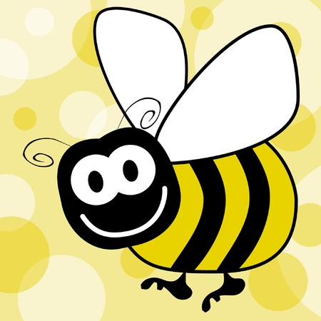 Fun bumble bee vector with a patterned background.