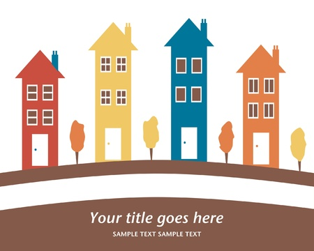 Colorful row of tall houses vector illustration.