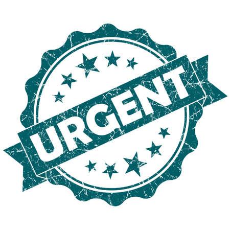 Urgent turquoise vintage round grunge seal isolated on white background
