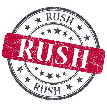 Rush red grunge round stamp on white background