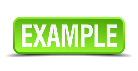 Example green 3d realistic square isolated button