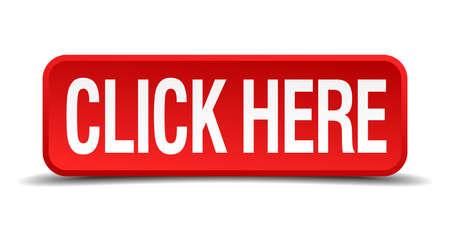 Ilustración de click here red three-dimensional square button isolated on white background - Imagen libre de derechos