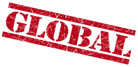 global red grungy stamp on white background