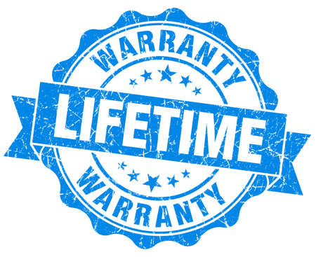 lifetime warranty blue grunge seal isolated on white