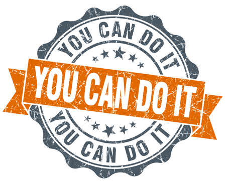 you can do it vintage orange seal isolated on white