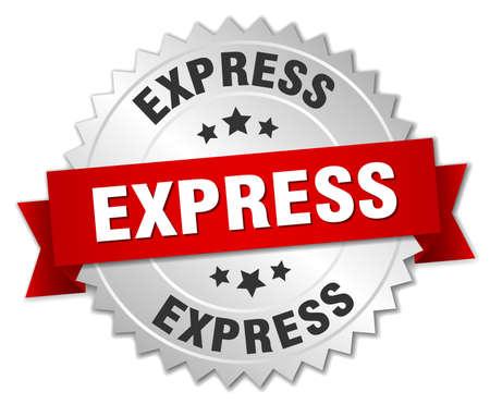 Illustration pour express 3d silver badge with red ribbon - image libre de droit