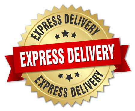 Illustration pour express delivery 3d gold badge with red ribbon - image libre de droit