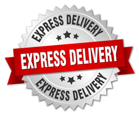 Illustration pour express delivery 3d silver badge with red ribbon - image libre de droit