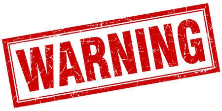 warning red square grunge stamp on white