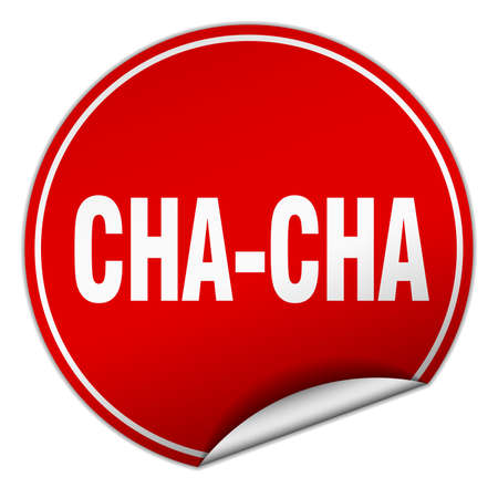 cha-cha round red sticker isolated on white