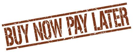 Illustration pour buy now pay later brown grunge square vintage rubber stamp - image libre de droit