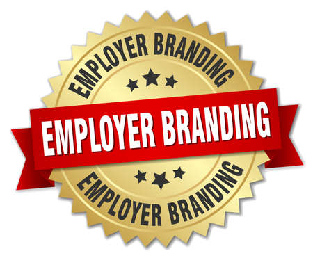 Employer branding round isolated gold badge