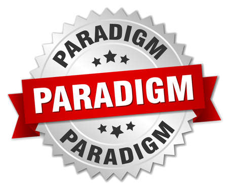 paradigm round isolated silver badge