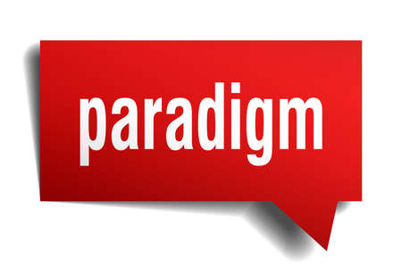 Paradigm red 3d square isolated speech bubble
