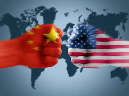US - China trade war, boxing flag fists