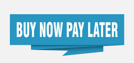 Illustration pour buy now pay later sign. buy now pay later paper origami speech bubble. buy now pay later tag. buy now pay later banner - image libre de droit