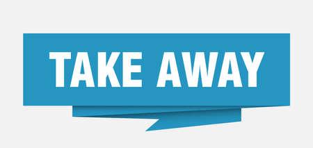 Illustration pour take away sign. take away paper origami speech bubble. take away tag. take away banner - image libre de droit