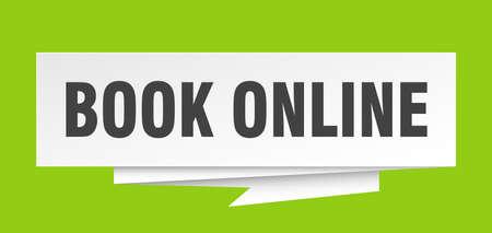book online sign. book online paper origami speech bubble. book online tag. book online banner