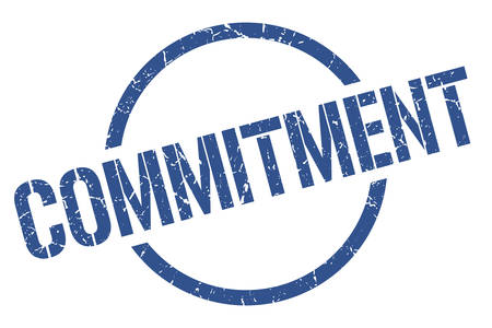 Illustration pour commitment blue round stamp - image libre de droit