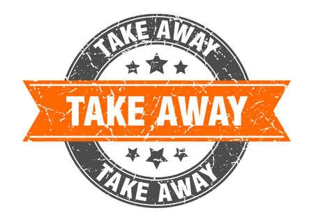 Illustration pour take away round stamp with orange ribbon. take away - image libre de droit