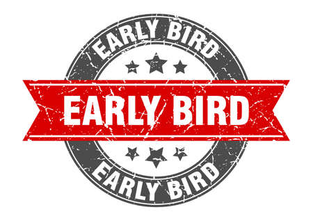 Illustration pour early bird round stamp with red ribbon. early bird - image libre de droit