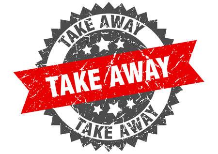 Illustration pour take away grunge stamp with red band. take away - image libre de droit