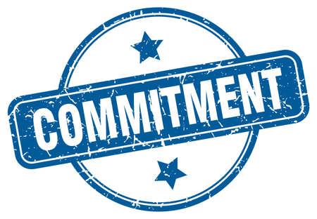Illustration pour commitment stamp. commitment round vintage grunge sign. commitment - image libre de droit