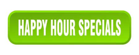 Illustration pour happy hour specials button. happy hour specials square 3d push button - image libre de droit