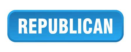 Illustration pour republican button. republican square 3d push button - image libre de droit