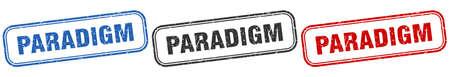 paradigm square isolated sign set. paradigm stamp